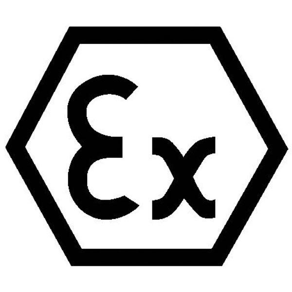Kennzeichnung an Betriebsmitteln Ex (Explosionsgeschützt / sechseckig) auf Bogen